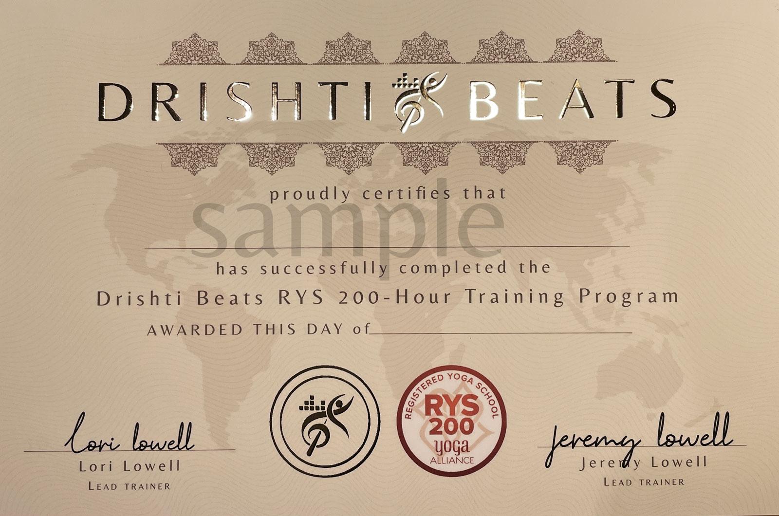 Drishti Beats Yoga Certificate