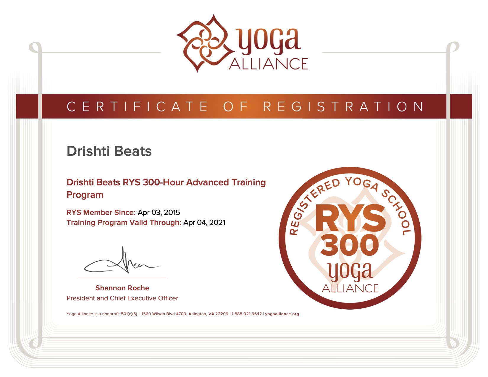 RYS® 300 Hour Advanced Training